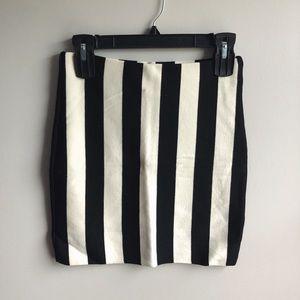 Black & White Striped Bodycon Skirt